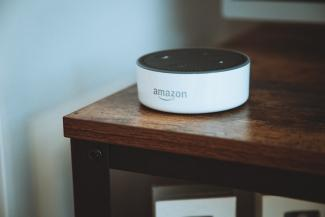 Amazon Alexa on a side table
