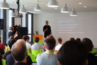 Moises Gonzalez speaking at the FlixTech Summit